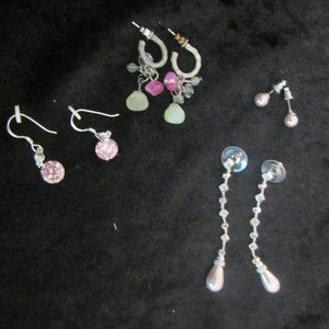 Set of 4 Pair of Pink hues+ Green Earrings